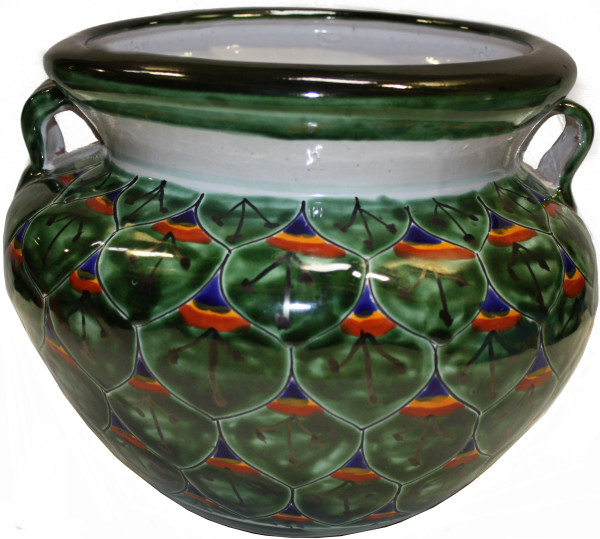 Green Peacock Talavera Ceramic Pot