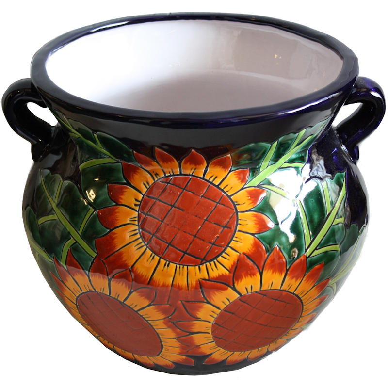Medium Size Sunflowers Talavera Ceramic Pot