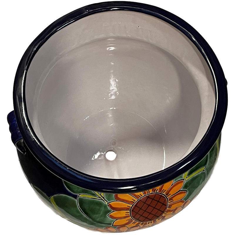 Medium Size Sunflowers Talavera Ceramic Pot Close-Up