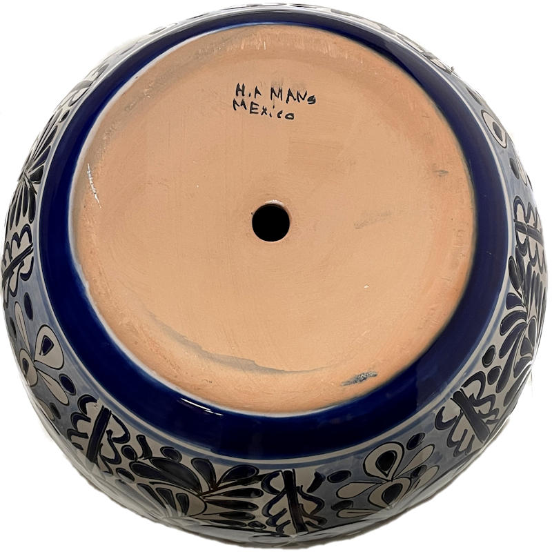 Medium Size Traditional Blue Talavera Ceramic Pot Details
