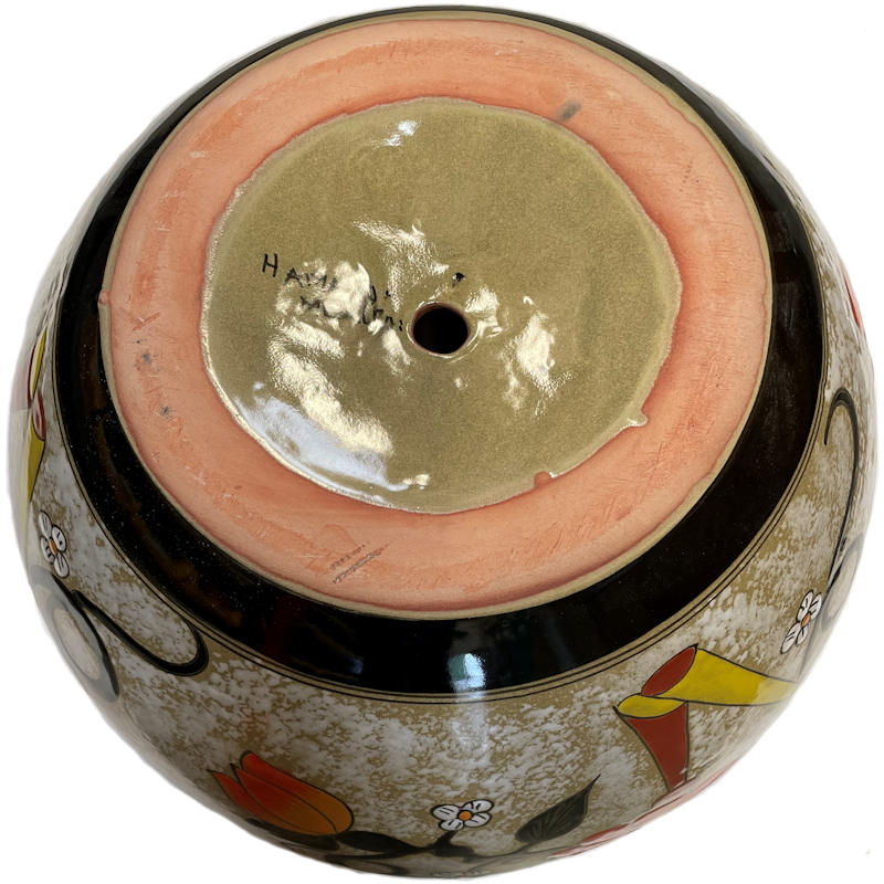 Big Lily/Sunflower Talavera Ceramic Pot Details