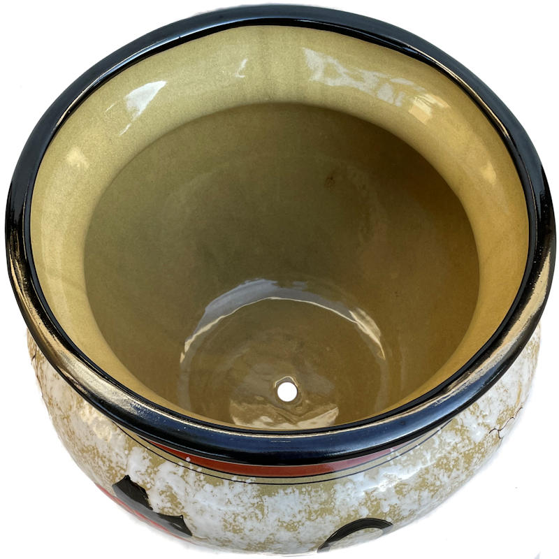 Medium Lily/Sunflower Talavera Ceramic Pot Close-Up