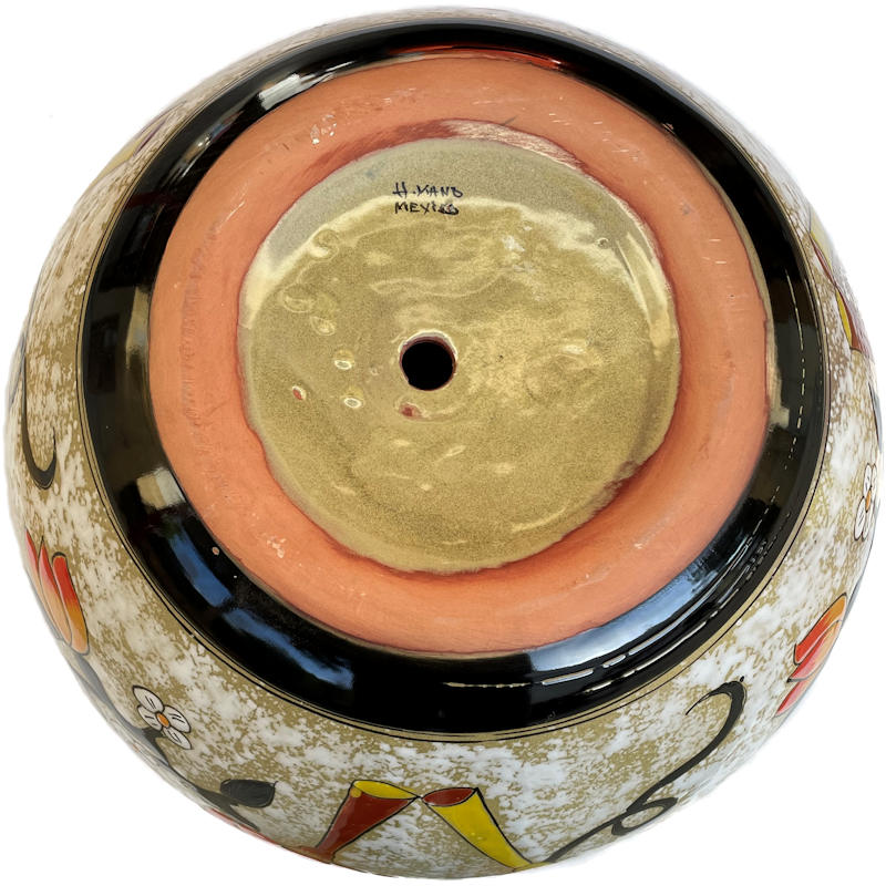 Medium Lily/Sunflower Talavera Ceramic Pot Details