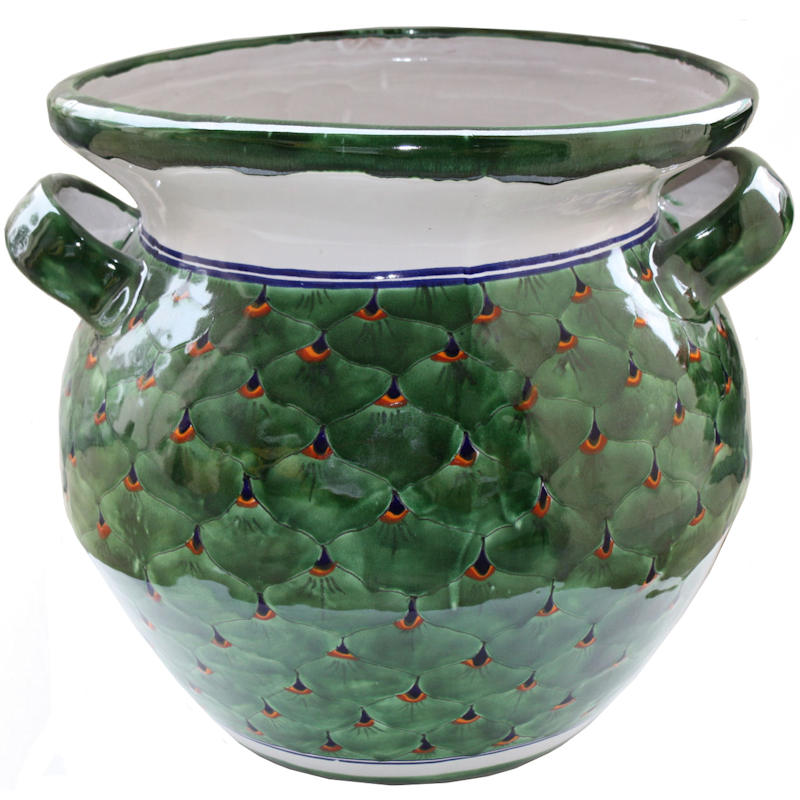 Huge Peacock Talavera Ceramic Pot