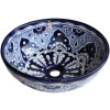 Blue Round Ceramic Talavera Vessel Sink