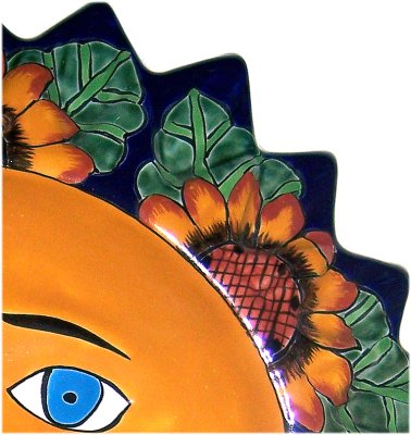 Big Sunflower Talavera Ceramic Sun Face Close-Up
