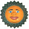 Big Green Peacock Talavera Ceramic Sun Face