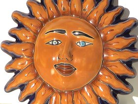 Small Talavera Ceramic Sun Face Close-Up