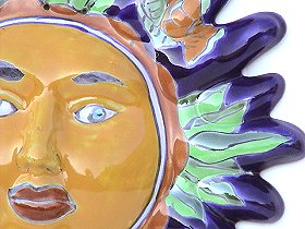 Fish Talavera Ceramic Sun Face Close-Up