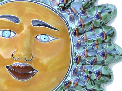 Green Peacock Talavera Ceramic Sun Face Close-Up