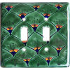 Peacock Talavera Ceramic Double Switch Plate
