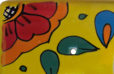 Canary Talavera Toggle-Outlet Switch Plate Close-Up