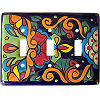 Rainbow Talavera Triple Toggle Switch Plate
