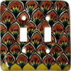Brown Peacock Talavera Ceramic Double Toggle Switch Plate