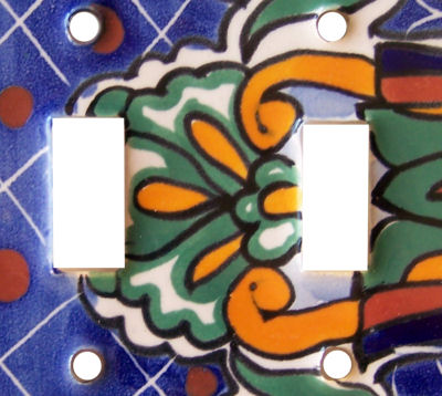 Double Toggle Blue Mesh Talavera Ceramic Switch Plate Close-Up