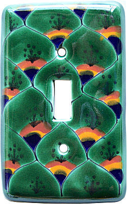 Peacock Talavera Single Toggle Switch Plate