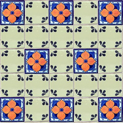 Blue Petals Talavera Ceramic Tile