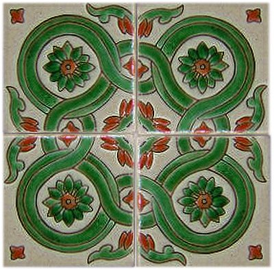 Alhambra Corner Green Atenas Talavera Mexican Tile Close-Up