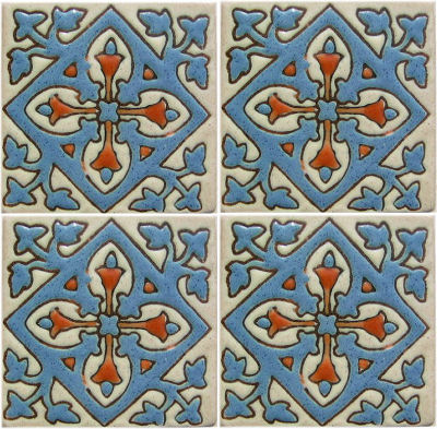 Cyan Verona Alhambra Talavera Mexican Tile Close-Up