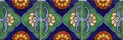 Green Sea Talavera Mexican Tile Close-Up