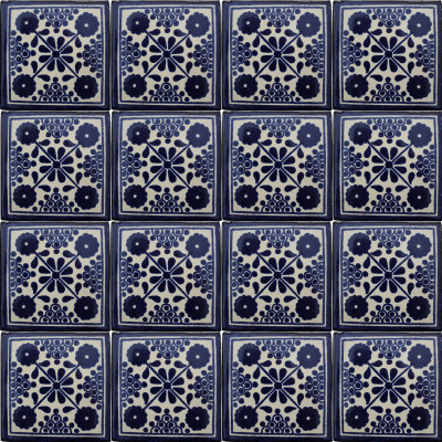 Blue Damasco Talavera Mexican Tile Close-Up