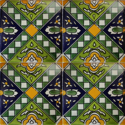 Green Zamora Talavera Mexican Tile Close-Up