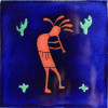 Blue Kokopelli Talavera Mexican Tile