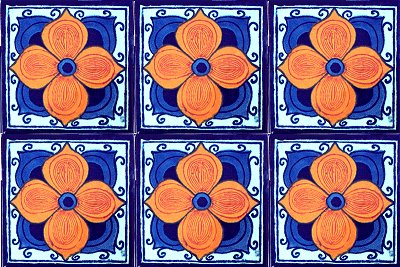 Marigold Talavera Mexican Tile Close-Up
