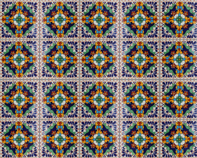 Macotera Talavera Mexican Tile Close-Up
