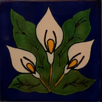 Three-Lily Talavera Mexican Tile