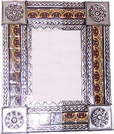 Small Silver Greca C Mexican Tile Mirror