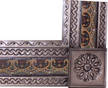 Small Brown Greca C Mexican Tile Mirror Close-Up