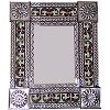 Small Silver Greca II Mexican Tile Mirror