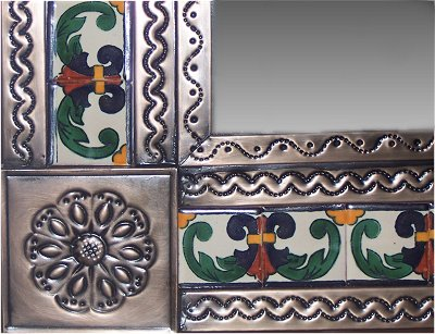 Small Brown Greca II Mexican Tile Mirror Close-Up