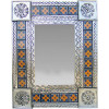 Small Silver Flower Tile Talavera Tin Mirror