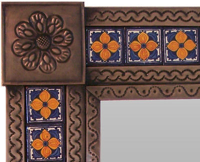 Small Brown Orange Flower Tile Talavera Tin Mirror Close-Up