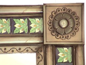 Brown Talavera 3-Lily  Tin Mirror Close-Up