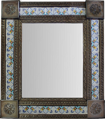 Medium Brown Mesh Tile Mexican Mirror