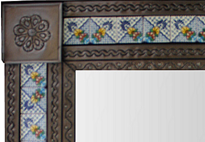 Medium Brown Mesh Tile Mexican Mirror Close-Up