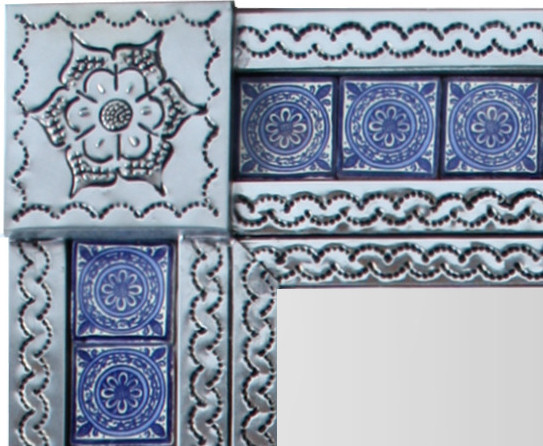 Small Silver Target Tile Mexican Mirror Close-Up
