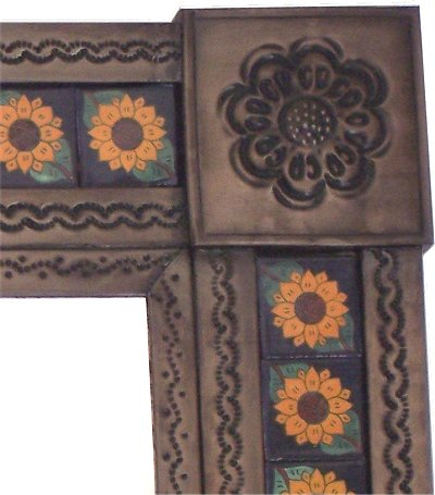 Small Brown Sunflower Tile Talavera Tin Mirror Close-Up