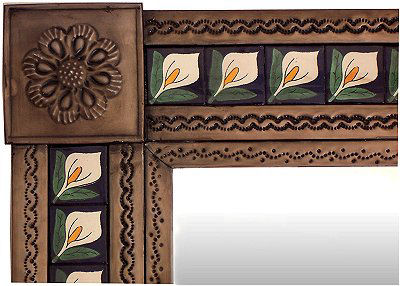 Small Brown Lily Tile Talavera Tin Mirror Close-Up