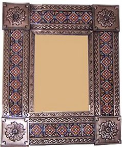 Small Brown Grenada Tile Talavera Tin Mirror