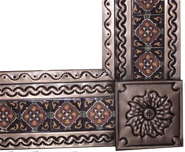 Small Brown Grenada Tile Talavera Tin Mirror Close-Up