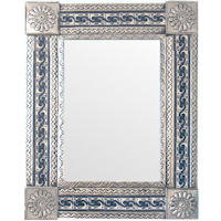 Medium Silver Caracol Tile Talavera Tin Mirror