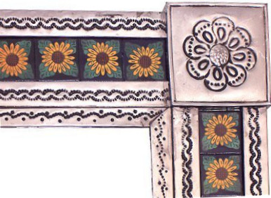 Small Silver Sunflower Tile Talavera Tin Mirror Close-Up