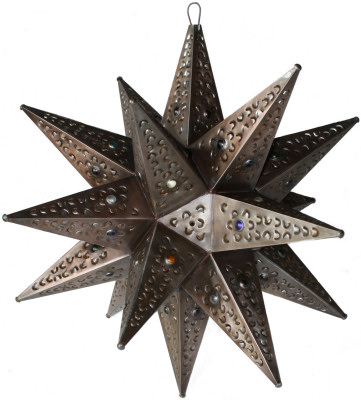 Large Brown Tin Star Chandelier
