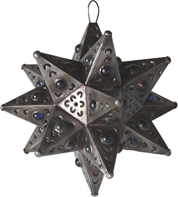 Small Antique Tin Star Chandelier