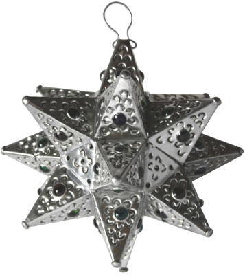 Small Silver Tin Star Chandelier