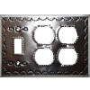 Double Outlet-Toggle Silver Tin Switchplate